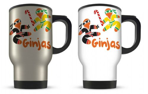 14oz Ginjas Funny Christmas Gingerbread Man Novelty Aluminium Travel Mug